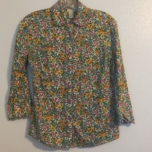 Anthropologie Odille floral button down top